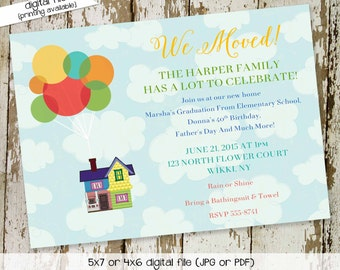 Disney UP moving announcement housewarming party retirement couples shower invitation baby stock the bar rehearsal dinner   712 katiedid