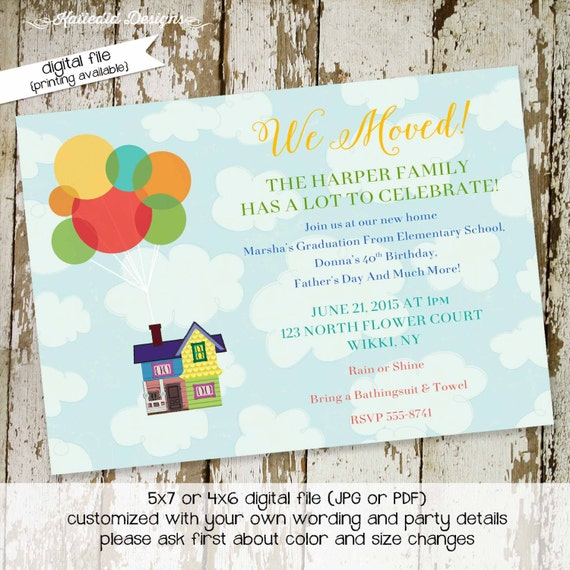 Disney UP moving announcement housewarming party retirement couples shower invitation baby stock the bar rehearsal dinner | 712 katiedid