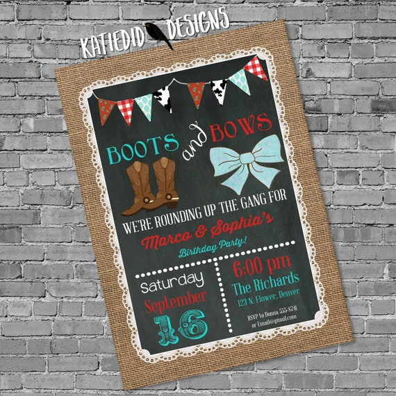 Boots and Bows Birthday Invitation, Burlap Lace Chalkboard Cowgirl Cowboy Country Theme, Twin Baby Shower | 2018 Katiedid Designs