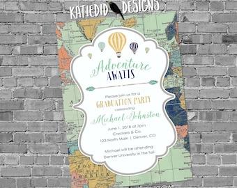 High School Graduation Announcement, Adventure Awaits Invitation, Travel Theme, Hot Air Balloons World Map | 1466 Katiedid Designs