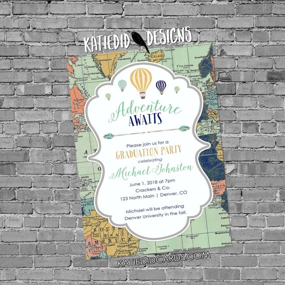 adventure awaits hot air balloon graduation invitation announcement travel theme oh the places you'll go world map school | 1466 Katiedid