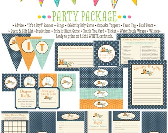 rustic baby boy owl baby shower co-ed baby shower party package banner wishes for baby cupcake toppers thank you card 1247 Katiedid Designs