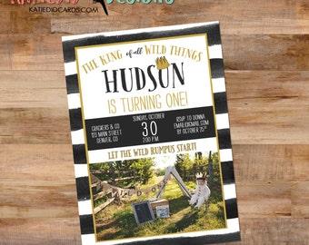 where the wild things are baby shower invitation one two rumpus king boy gender neutral birthday black white stripe   295B Katiedid Designs
