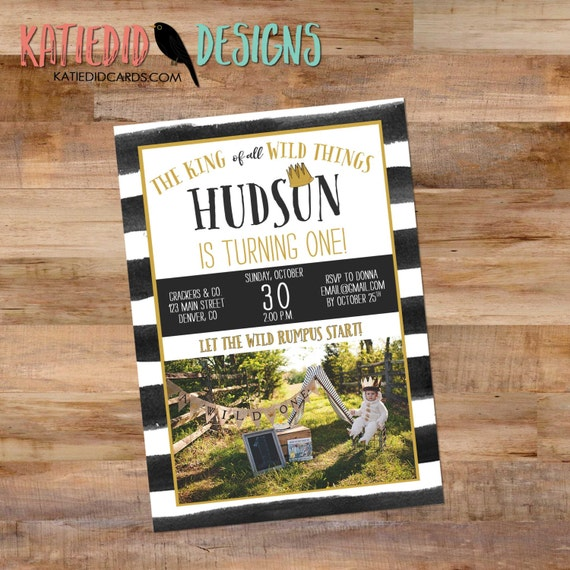 where the wild things are baby shower invitation one two rumpus king boy gender neutral birthday black white stripe | 295B Katiedid Designs