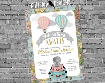 Adventure awaits Hot air balloon gender reveal invitation Travel theme baby shower World map neutral oh the places greatest   1484 Katiedid
