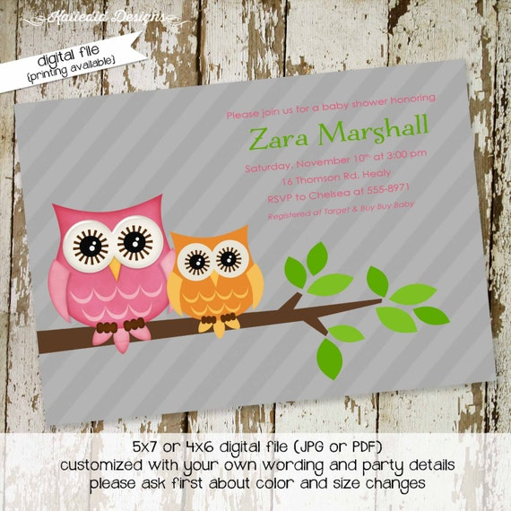 gender reveal invitation owl baby shower girl 1st birthday diaper wipes brunch twins couples coed sprinkle sip see | 1442 Katiedid Designs