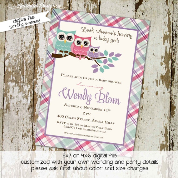 owl baby shower invitation couples girl rustic sprinkle sip see diaper wipes brunch coed two moms plaid pink purple gay | 139 Katiedid Cards