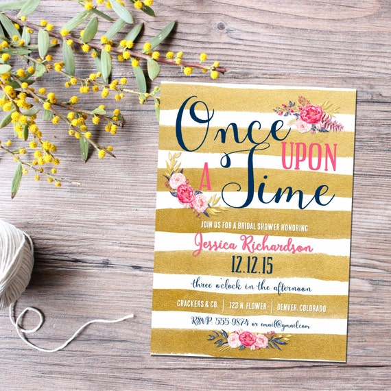 Storybook baby shower invitation Once upon a time baby shower Gold stripe floral shower invitation Couples Bridal Invitation | 1436 Katiedid