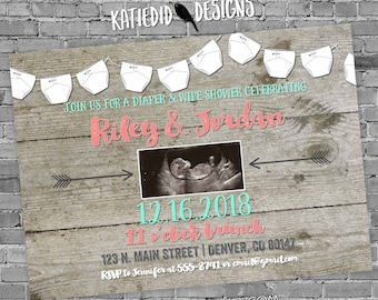 sonogram pregnancy announcement   rustic shower invitations gender neutral   mint coral invite   boho chic baby shower   1417 Katiedid Cards