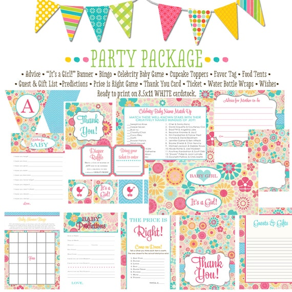 floral chic invite baby girl floral chic shower shabby chic it's a girl baby shower party package bunting banner wishes 1369 Katiedid Design