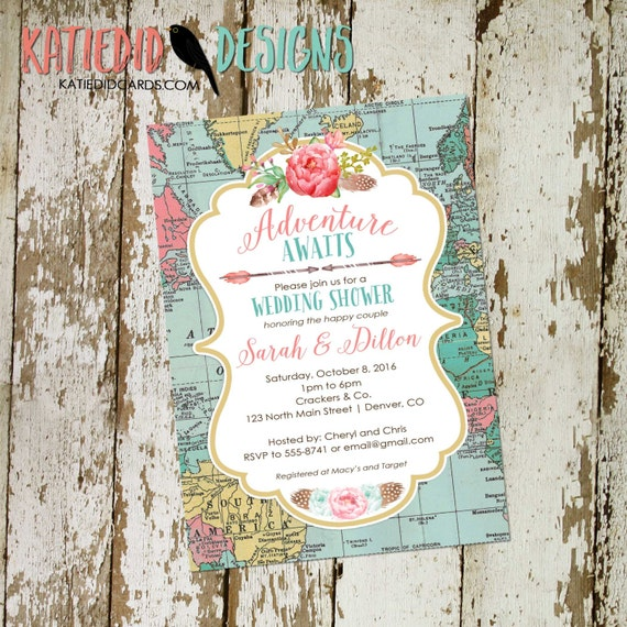 travel theme bridal shower invitation baby couples stock the bar miss to mrs i do bbq boho chic tribal diaper wipes brunch | 370 Katiedid