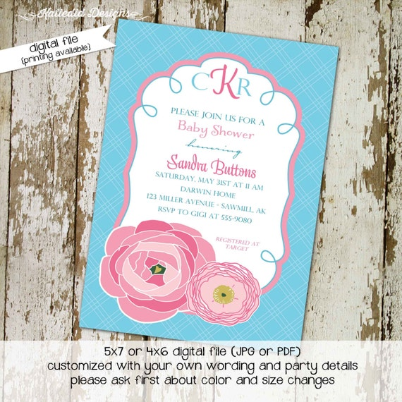 baby shower invitation girl printable couples baptism floral pink aqua monogram diaper wipes brunch sprinkle sip see   1356 Katiedid Designs
