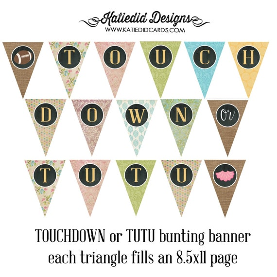 touchdowns or tutus gender reveal surprise gender burlap lace invite bunting banner co-ed baby shower chalkboard chic 1431 Katiedid Designs
