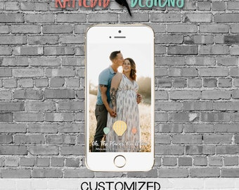 snapchat filter adventure awaits hot air balloon travel theme baby shower world map couples coed oh the places you'll go | 1243 Katiedid
