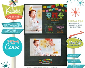 Fiesta Birthday Invitation with Photo Picture, Halloween Party Day of the Dead   234 Katiedid Designs