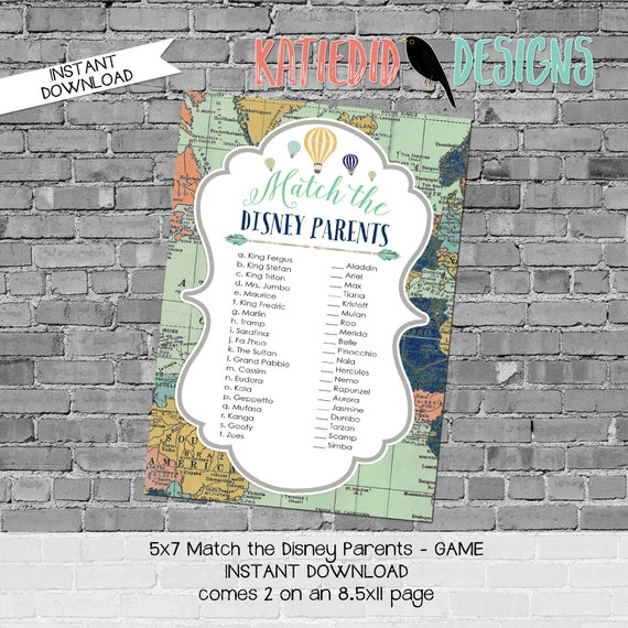 Disney Match game parents baby shower Travel Theme adventure awaits hot air balloon oh the places you'll go world map | 1466 Katiedid Design