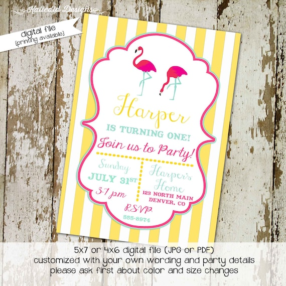 flamingo birthday invitation flamingle girl couples baby shower bridal I do BBQ engagement party pink yellow stripe summer | 288 Katiedid