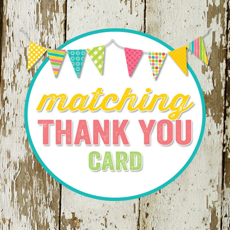 THANK YOU CARD to match any design for baby shower or party image 0