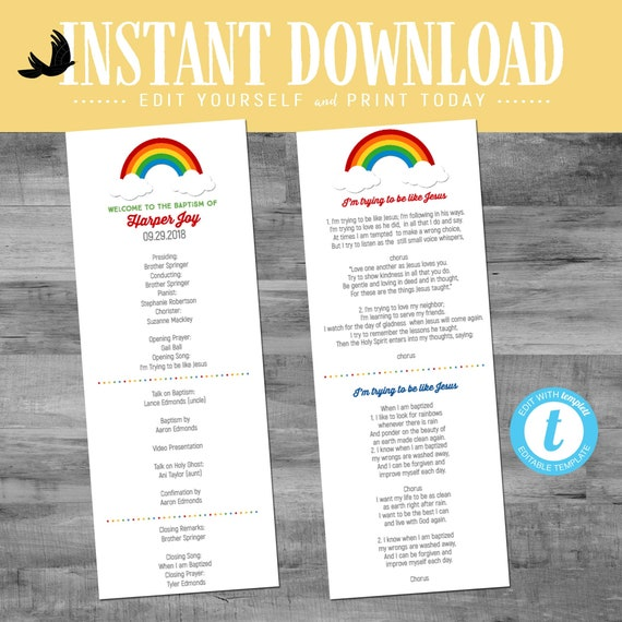LDS baptism program rainbow mormon christening mint coral great to be 8 eight gray CTR girl editable choose editable | 702 Katiedid design