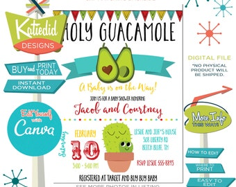 Fiesta Baby Shower Invitation, Cactus Avocado Taco 'Bout Baby or edit the wording for ANY Event | 13131 Katiedid