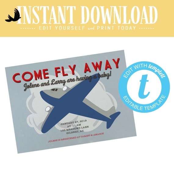 Travel Theme Boy Birthday Invitation, Airplane adventure awaits Baby Shower Invite  | 12130 Katiedid Designs
