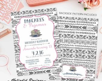 girl sleepover birthday invitation pajamas pancakes tribal arrows boho sixteen 13th pink navy gray brunch teenager   252 Katiedid Designs