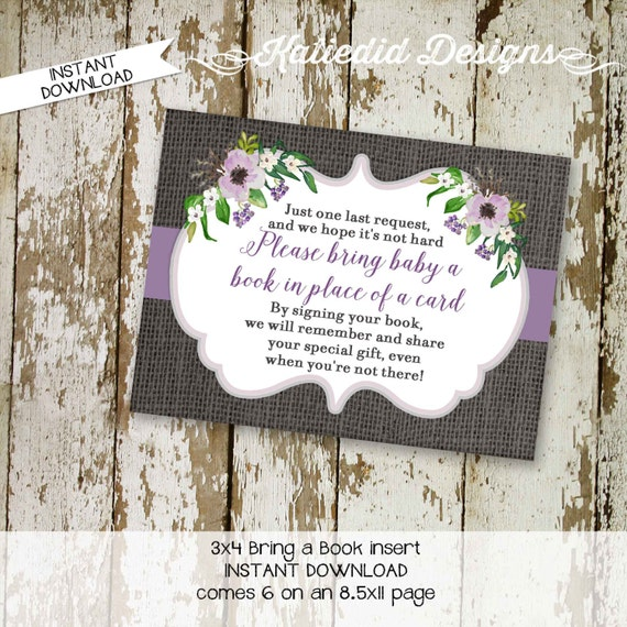 rustic baby girl shower floral chic purple Bring a Book instead of a card enclosure card insert storybook theme library 1308 Katiedid Design