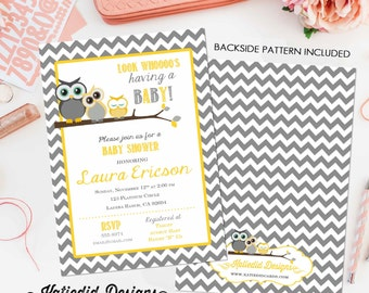 gender reveal invitation Owl baby shower neutral couples coed diaper wipes twins sprinkle sip see boy girl yellow gray   1404 Katiedid Card