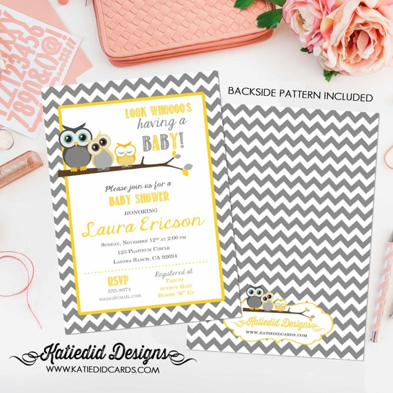 gender reveal invitation Owl baby shower neutral couples coed diaper wipes twins sprinkle sip see boy girl yellow gray | 1404 Katiedid Card