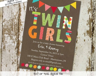 Twins baby shower invitation couples coed diaper wipes brunch sip see sprinkle girl announcement two moms birthday | 1510 Katiedid Designs