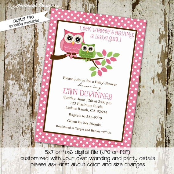 owl baby shower invitation couples coed sprinkle sip see girl pink brown polka dots birthday baptism twins diaper wipes | 1316 katiedid card