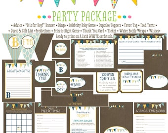 rustic baby boy shower invitation b is for baby invite baby shower party package bunting banner wishes for baby advice 1240 katiedid designs