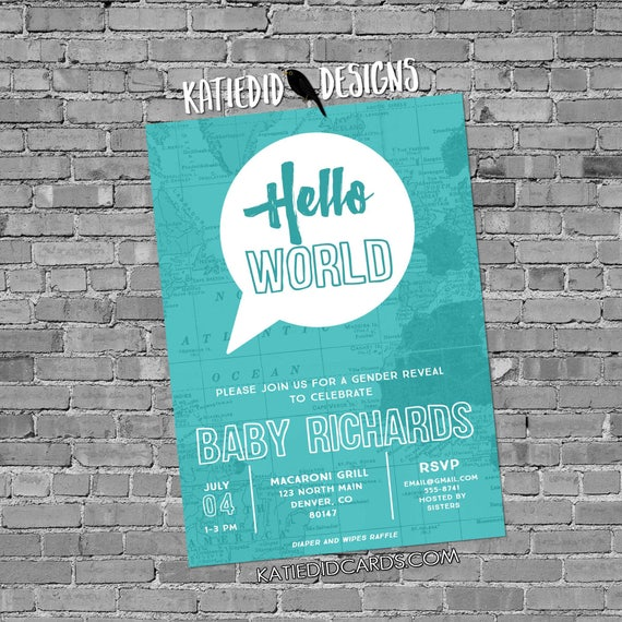 adventure awaits travel theme hello world map gender reveal invitation baby shower oh the places you'll go gray teal | 1481b Katiedid Cards
