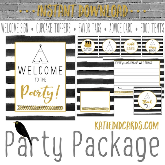 where the wild things are wild rumpus black white stripe teepee tribal invite baby shower party package welcome sign 292 Katiedid Designs