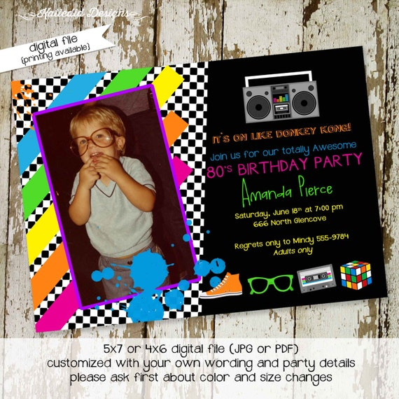80s party invitation Stock the bar couples shower Totally 30th 40th 50th birthday retirement reunion rehearsal photo picture | 260 Katiedid