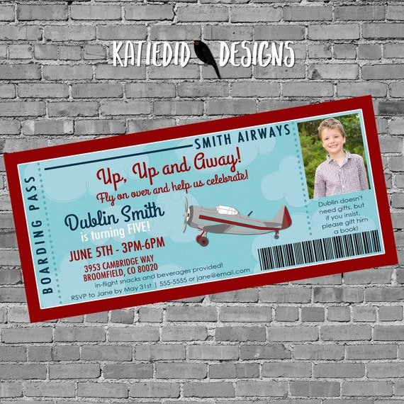 Boarding pass Birthday invitation, Adventure awaits Travel Theme baby shower vintage airplane | 226 katiedid designs