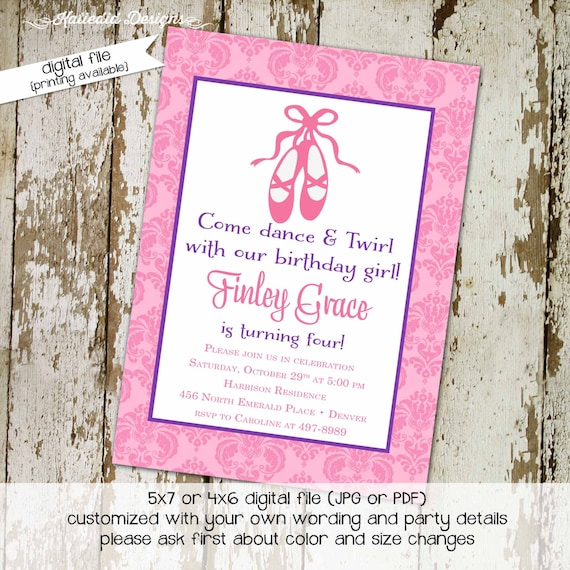 ballerina invitation ballet 1st birthday girl tutu pink slippers purple baby shower couples coed baptism first communion sip | 236 Katiedid