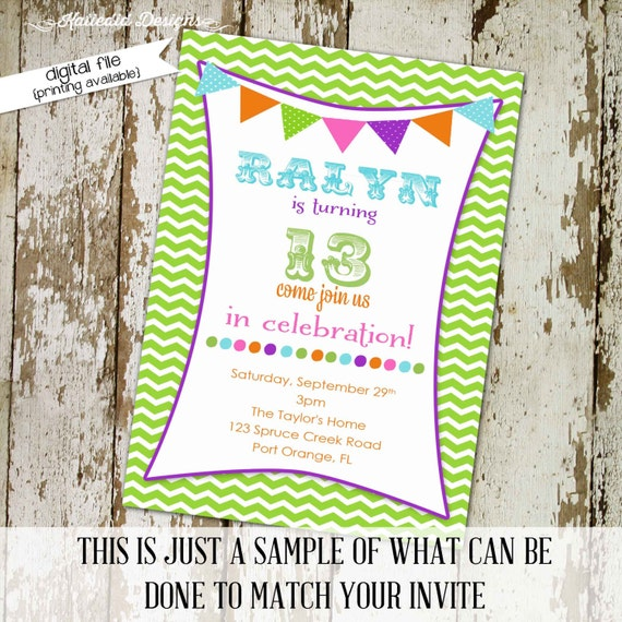 Teen birthday party invitation sleepover pajama pancakes girl chevron bunting banner purple green pink circus bright | 203 Katiedid designs