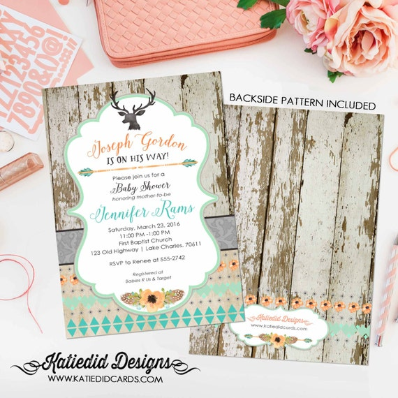 deer boy oh boy invitation rustic baby boy shower wood twins rustic chic tribal arrows invite antler shower with love 1238 Katiedid Designs