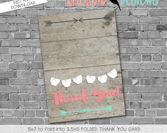 mint coral invite Tribal baby shower invitation diaper wipes wood gender reveal surprise gender reveal thank you card 1417 Katiedid Designs