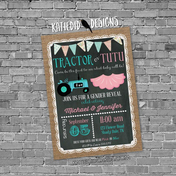 Gender reveal invitation tractor or tutu twins baby shower couples coed burlap lace chalkboard diaper wipes brunch | 1475 Katiedid designs