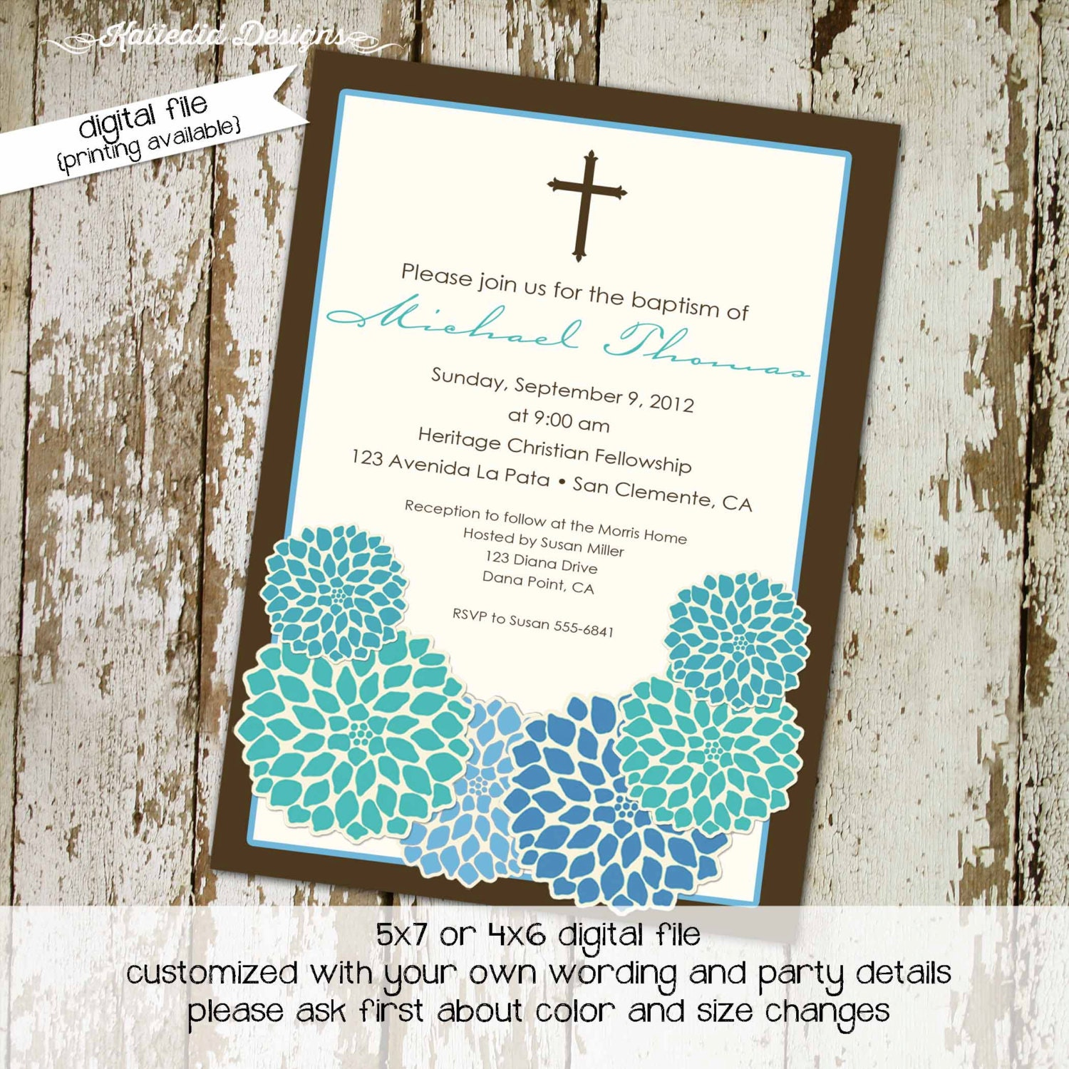 Baptism invitation baby boy shower cross crucifix floral blue brown ...
