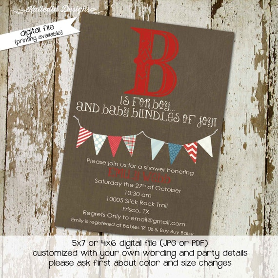 baby shower invitation gender neutral couples rustic b is for boy reveal diaper wipes brunch coed sprinkle sip see | 1260 Katiedid Designs