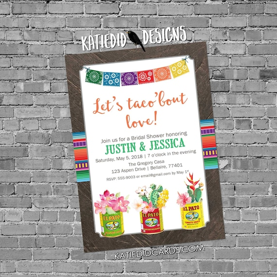 Fiesta Invitation couples shower bridal taco love day dead flowers cinco de mayo stock the bar I do BBQ engagement party | 375 Katiedid