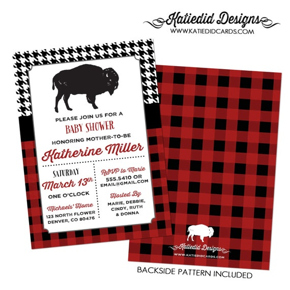 buffalo couples baby shower invitation rustic boy houndstooth check plaid diaper wipes coed sprinkle birthday sip see | 1257 Katiedid Design