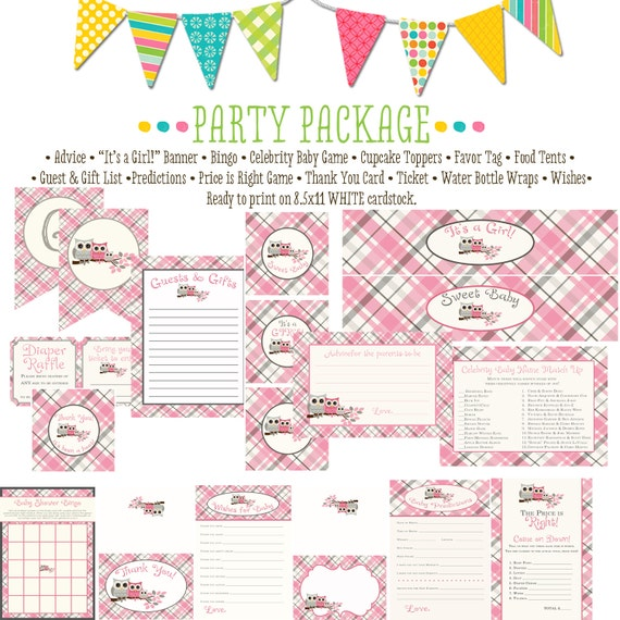 owl baby shower party package plaid chic invite surprise gender reveal bunting banner wishes for baby bingo cupcake 1372 katiedid designs