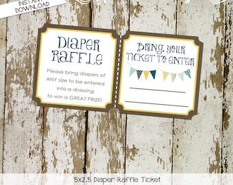 gender reveal party game Kraft paper rustic chic bunting banner diaper wipe brunch Diaper raffle ticket navy yellow 1240 Katiedid designs