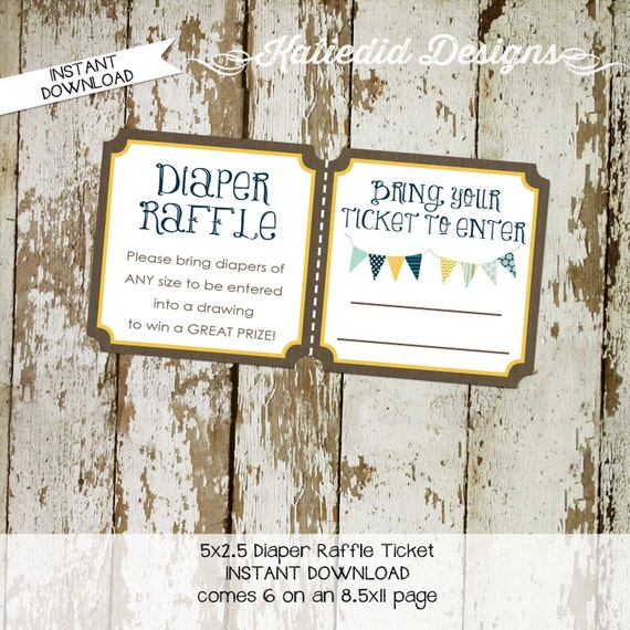 gender reveal party game Kraft paper rustic chic bunting banner diaper wipe brunch Diaper raffle ticket navy yellow 1240 Katiedid designs