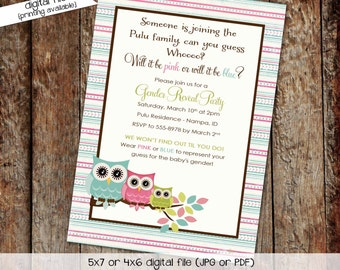 gender reveal invitation owl baby shower diaper wipes brunch coed pink blue twins he she neutral couples sprinkle   1427 Katiedid Designs