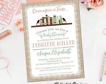 Once upon a time baby shower invitation storybook burlap lace mint green coral diaper wipes brunch girl sprinkle gay   1366 Katiedid Designs